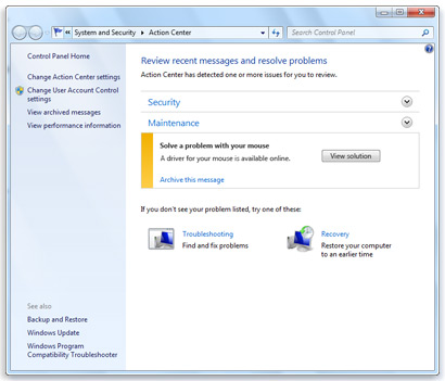 Windows 7 Troubleshooting and Action Center